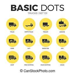 caminhões, apartamento, ícones, vetorial, jogo