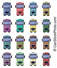 caminhões, vista dianteira, ilustração