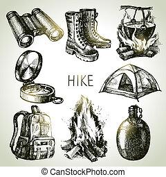 caminhada, e, acampamento, turismo, mão, desenhado, set., esboço, projete elementos