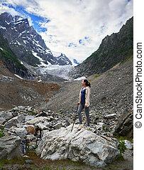 caminhada, menina, geleira, plataformas, rocha