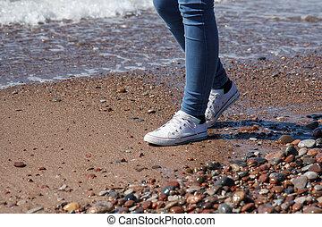 caminhando, a, litoral