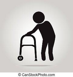 caminhante, símbolo, idoso, ilustração, homem