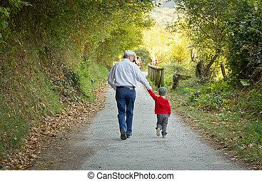 caminho, andar, avô, neto, natureza