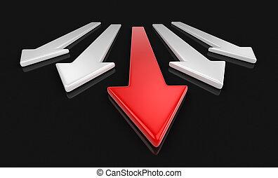 caminho, cortando, 3d, imagem, arrows.