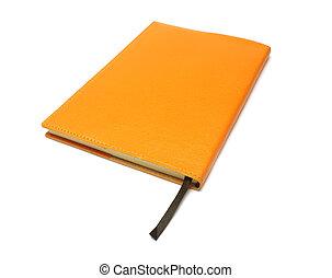 caminho, cortando, caderno, fundo branco