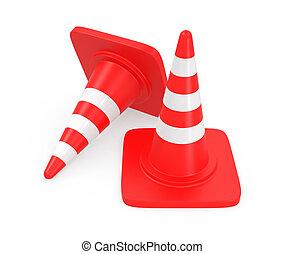 caminho, cortando, cone tráfego, vermelho
