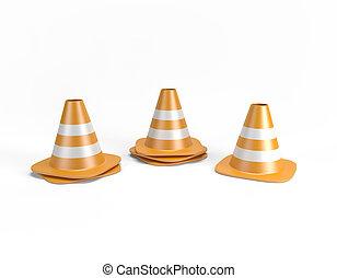 caminho, cortando, cones tráfego, 3d