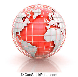 caminho, cortando, globe., imagem, 3d