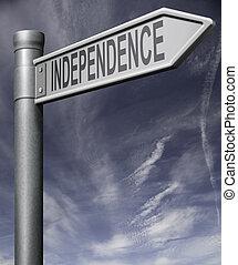 caminho, cortando, independência, sinal