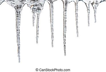 caminho, cortando, isolado, icicles.