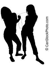 caminho, cortando, mulheres, silueta, dançar