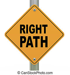 caminho, direita, 3d, sinal estrada