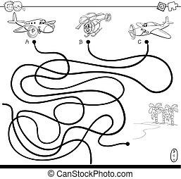 caminho, labirinto, com, aeronave, caráteres, cor, livro