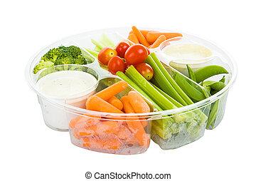 caminho, mergulho, veggies