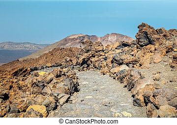 caminho montês, auge, el teide, vulcão, tenerife, espanha
