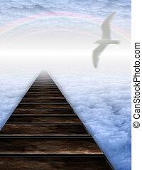 caminho, nuvens