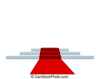 caminho, pedestal, branca, isolado, vermelho