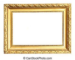 caminho, quadro, cortando, ouro