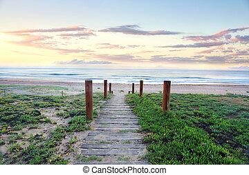 caminho, que, refresca, a, soul., praia, amanhecer,...