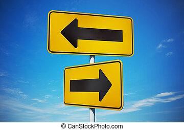 caminho, sinais, tráfego, amarela, estratégico