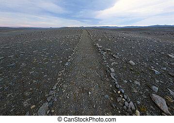 caminho, vulcânico, horizonte, rocha