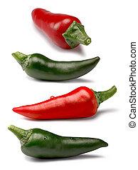 caminhos, jogo, verde vermelho, pimentas