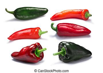 caminhos, pimentas, chile vermelho, verde
