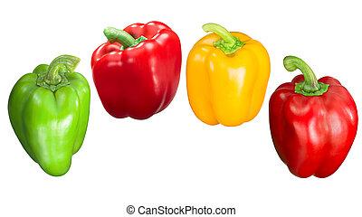 caminhos, sino, verde amarelo, pimentas, vermelho