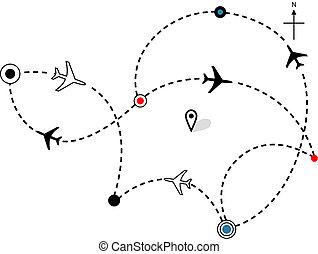 caminhos, vôo, planos, mapa, viagem, avião, linha aérea