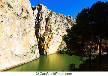Caminito del Rey in rocky canyon. Andalusia