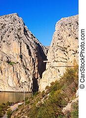 Caminito del Rey in rocky canyon