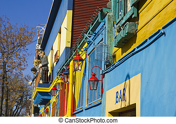 Caminito, a traditional alley, of great cultural and tourism, in the district of La Boca in Buenos Aires, Argentina.