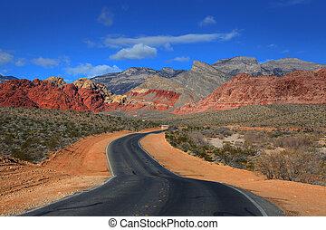 camino, a, barranca roja de la roca