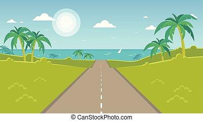camino, a, el, mar