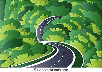 camino, a, el, montañas