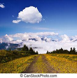 camino, a, el, nubes