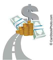camino, a, ganancias, concepto, ilustración