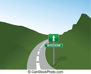 camino, a, sabiduría, señal