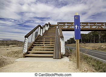 camino, a, santiago, puente, y, cielo