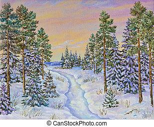 camino, aceite, invierno, nieve, árboles de pino, painting., original, paisaje, lona.