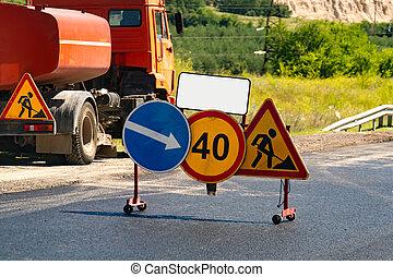 camino, bajo construcción, alert.