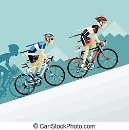 camino, bicicleta de carreras, hombre, ciclistas, ir, grupo, mountain.