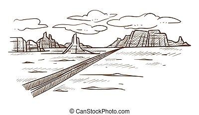camino, bosquejo, colinas, paisaje, salvaje, desierto, tejas