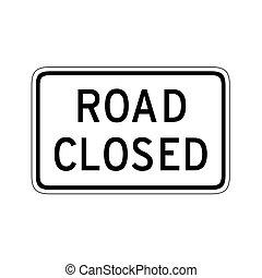 camino cerrado, ilustración, señal