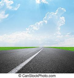 camino, cielo, nubes, horizonte, asfalto