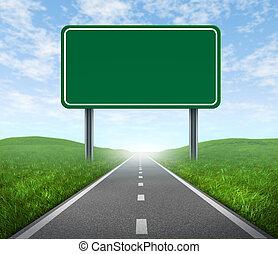 camino, con, señal de autopista