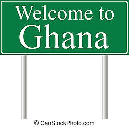 camino, concepto, ghana, señal bienvenida
