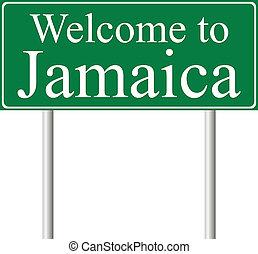 camino, concepto, jamaica, señal bienvenida