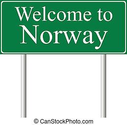 camino, concepto, noruega, señal bienvenida