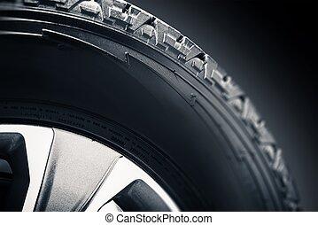camino, de, neumático, aleación